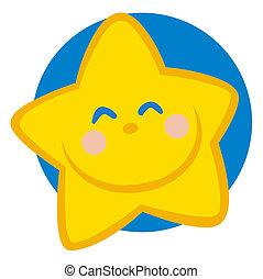 caractère, dessin animé, sourire, étoile