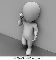 caractère, discussion, communiquer, illustration, rendre, appeler, spectacles, 3d