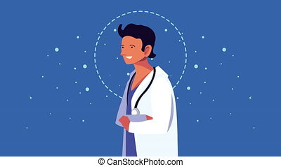 caractère, docteur, professionnel viril, animation