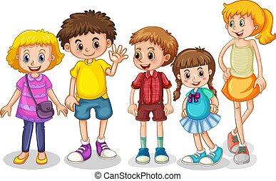 caractère, ensemble, jeunes enfants