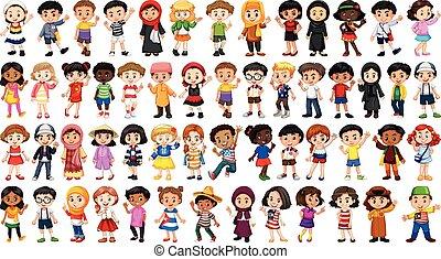 caractère, ensemble, multiculturel, gens