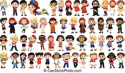 caractère, ensemble, multiculturel