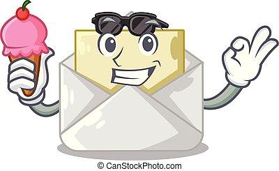 caractère, enveloppe, salutation, glace, affiches, ouvert, crème