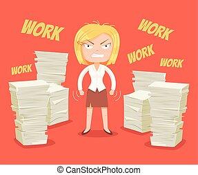 caractère, femme, occupé, dur, work.