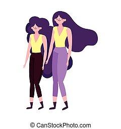caractère, femmes, avatar, icône, isolé, dessin animé, jeune, femme