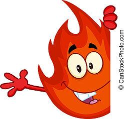caractère, flamme, mignon