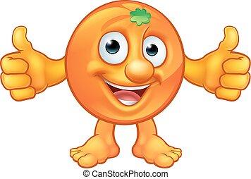 caractère, fruit, dessin animé, mascotte, orange