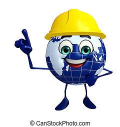 caractère, globe, ouvrier, chapeau