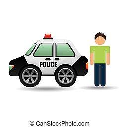 caractère, graphique, surveiller voiture