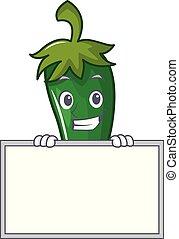 caractère, grimacer, vert, planche, piment, dessin animé
