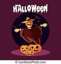 caractère, halloween, carte, épouvantail