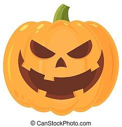 caractère, halloween, mal, figure, grimacer, emoji, expression, dessin animé, citrouille