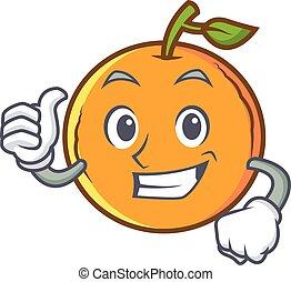 caractère, haut, fruit, pouces, orange, dessin animé