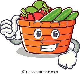 caractère, haut, fruit, pouces, panier, dessin animé