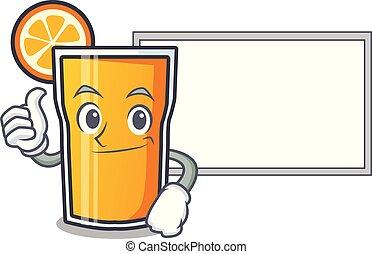 caractère, haut, jus, planche, orange, dessin animé, pouces