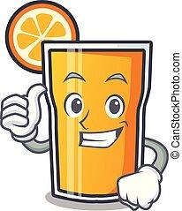 caractère, haut, jus, pouces, orange, dessin animé