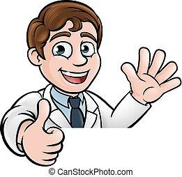 caractère, haut, signe, scientifique, pouces, dessin animé
