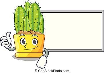caractère, haut, vert, planche, pouces, cactus, dessin animé, cereus