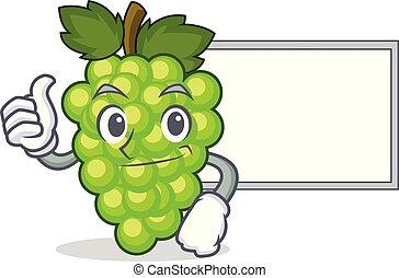 caractère, haut, vert, planche, raisins, dessin animé, pouces