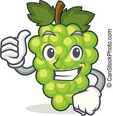 caractère, haut, vert, pouces, raisins, dessin animé