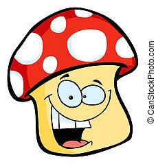 caractère, heureux, champignon, sourire