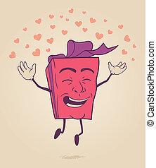 caractère, heureux, dessin animé, valentin