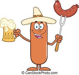 caractère, heureux, mexicain, saucisse