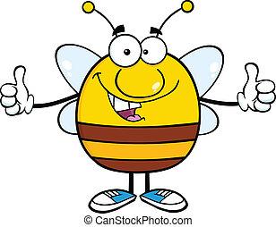 caractère, heureux, pudgy, abeille