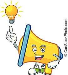 caractère, idée, dessin animé, mascotte, haut-parleur, avoir, jaune