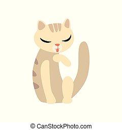 caractère, illustration, chat, vecteur, fond, gracieux, blanc, dessin animé