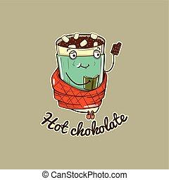 caractère, illustration, chocolat, chaud, vecteur, chauffage