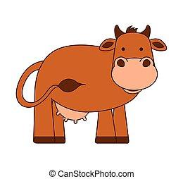 caractère, isolé, vache, icône