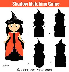 caractère, jeu, halloween, thème, sorcière, ombre, assorti