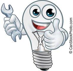 caractère, lightbulb, ampoule, dessin animé, mascotte, lumière