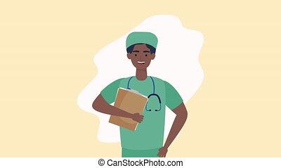 caractère, liste contrôle, animation, docteur