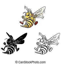 caractère, livre, coloration, abeille