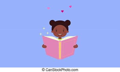 caractère, livre, peu, afro, lecture, girl