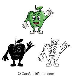 caractère, livre, pomme, coloration