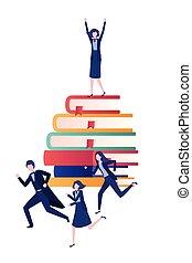 caractère, livres, groupe, avatar, business