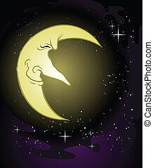 caractère, lune, vieux, sage, dessin animé