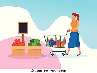 caractère, magasins, achats femme, épicerie