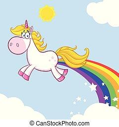 caractère, magie, licorne, confection, dessin animé, mascotte, sourire, arcs-en-ciel