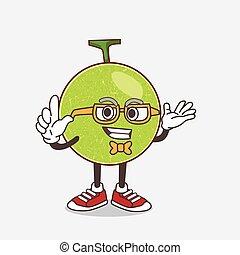 caractère, melon cantaloup, mascotte, style, geek, dessin animé