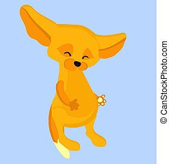 caractère, mignon, fenech., illustration.vulpes, renard, zerda., enfants, dessin animé