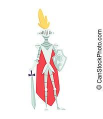 caractère, moyen-âge, royaume, période, milieu, illustrations., historique, âges, vecteur, chevalier, armure