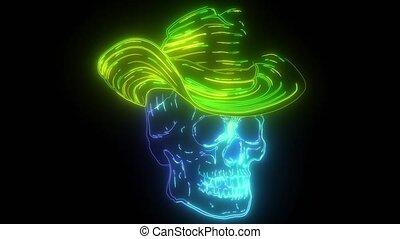 caractère, néon, vidéo, crâne, chapeau, spooky, cow-boy, ...