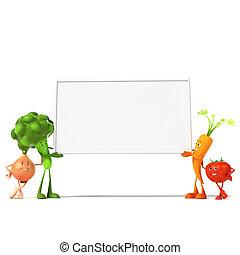 caractère, nourriture, légume, -