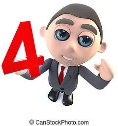 caractère, numéro quatre, tenue, homme affaires, dessin animé, 3d