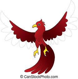 caractère, oiseau, rouges