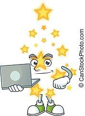 caractère, ordinateur portable, dessin animé, étoile, noël, sourire heureux, fonctionnement